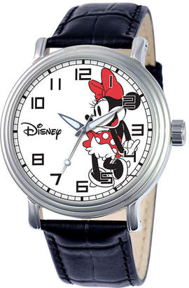 Disney Womens Minnie Mouse Black Leather Strap Watch