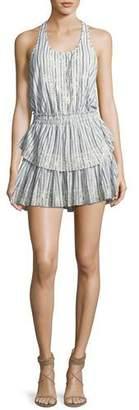 LoveShackFancy Racer Ruffled-Hem Cotton Mini Dress