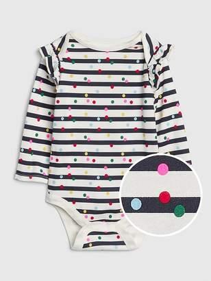 Gap Stripe Dot Ruffle Long Sleeve Bodysuit