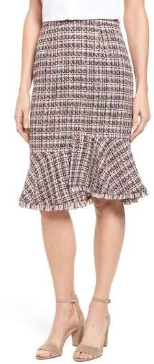 Tweed Ruffle Hem Skirt