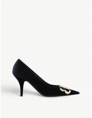Balenciaga Pointed-toe heeled velvet pumps