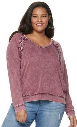 Mudd Juniors' Plus Size Lace-Up Sweatshirt