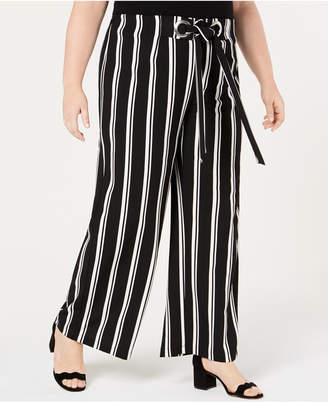 NY Collection Plus & Petite Plus Size Striped Wide-Leg Pants