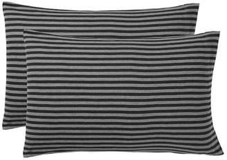 Pottery Barn Teen Classic Stripe Favorite Tee Pillowcases, Set of 2, Dark Gray/Gray