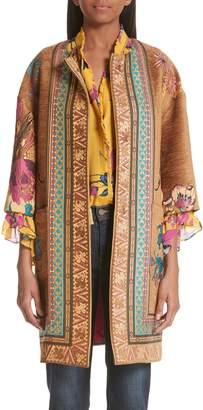 Etro Floral Jacquard Crop Sleeve Jacket