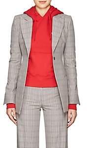Off-White Women's Plaid Cotton-Blend Blazer - Tartan Formal Fabric