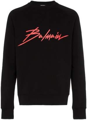Balmain crew neck logo cotton sweatshirt