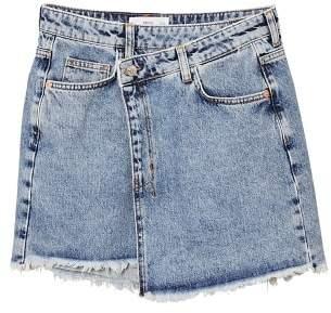 MANGO Wrap-waist denim skirt