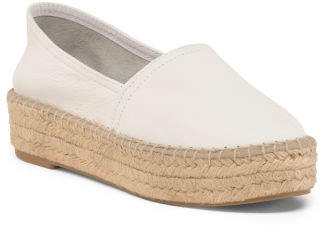 Made In Spain Leather Flat Closed Espadrilles