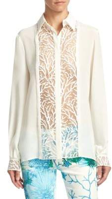 Roberto Cavalli Silk Lace Button-Front Blouse