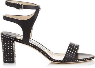 Jimmy Choo MARINE 65 Black Nappa Leather Sandals with Silver Micro Studs