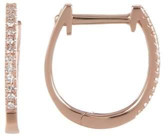 Ron Hami 14K Rose Gold Pave Diamond 11mm Huggie Hoop Earrings - 0.08 ctw