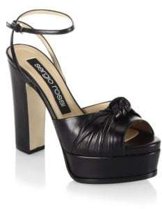 Sergio Rossi Kaia Knot Leather Platform Sandals