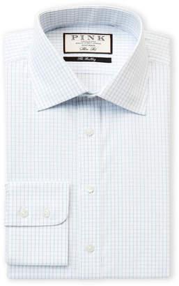 Thomas Pink Slim Fit Tobias Check Long Sleeve Dress Shirt