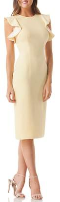Carmen Marc Valvo Ruffle Crepe Sheath Dress