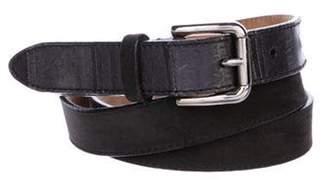 Dolce & Gabbana Eel-Accented Suede Belt Grey Eel-Accented Suede Belt
