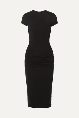 James Perse Ruched Stretch-cotton Jersey Midi Dress