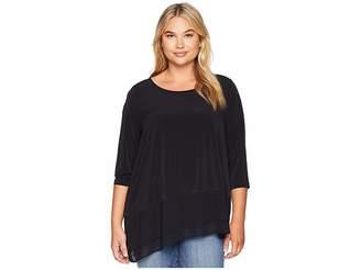 Calvin Klein Plus Plus Size 3/4 Sleeve Top Asymmetrical Hem Women's Clothing