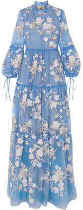 Erdem Cassandra Ruffled Embroidered Silk-organza Gown - Light blue
