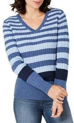 Karen Scott Colourblocked Rib-Knit Sweater