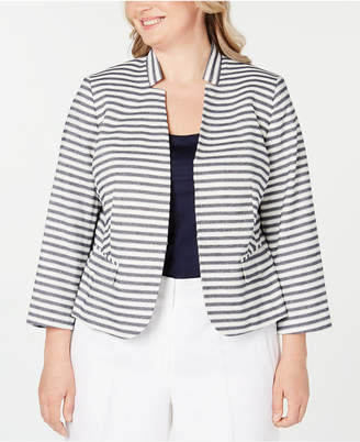 Nine West Plus Size Striped Star-Neck Blazer