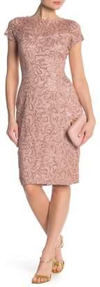 Marina Sequin Lace Cap Sleeve Midi Dress