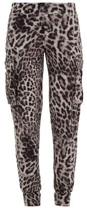 Norma Kamali Leopard Print Jersey Cargo Track Pants - Womens - Grey Print