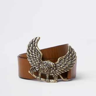 River Island Mens Brown tan leather eagle buckle belt