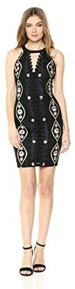 GUESS Women's Black Multi Embroidered MESH with Crepe