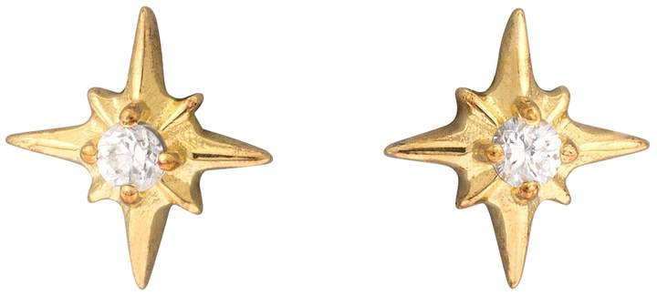Oliver Bonas Naos Stone & Star Gold Plated Stud Earrings