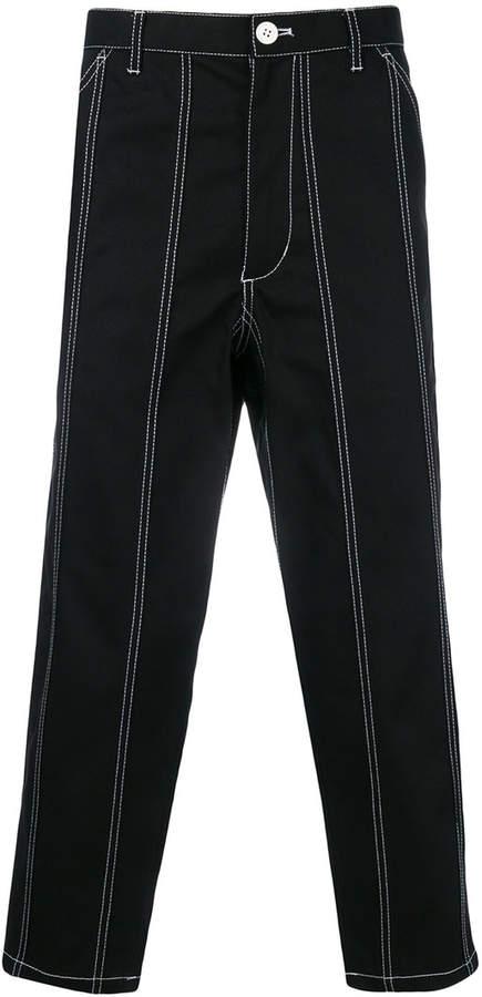 Comme Des Garçons Shirt striped cropped jeans