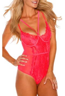 JUST SEXY Women's Sexy Lace and Mesh Strappy Lingerie Body suit