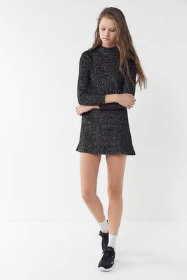 Urban Outfitters Sofia Sparkly Metallic Mock-Neck Sweater Dress