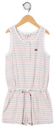 Lacoste Girls' Sleeveless Striped Romper