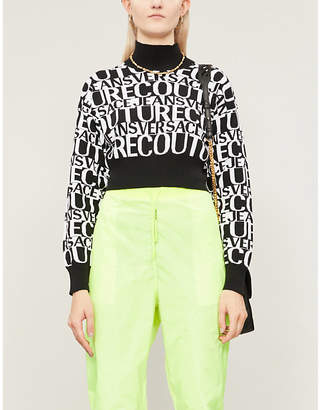 Versace Turtleneck cropped cotton-knit jumper