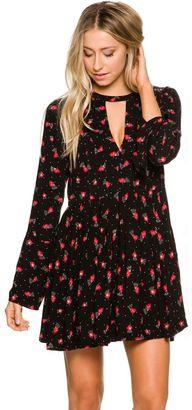 Free People Tegan Printed Long Sleeve Mini Dress $98 thestylecure.com