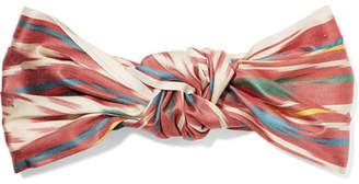 Jennifer Behr Marin Knotted Printed Silk Turban - Pastel orange