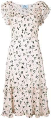 Prada floral printed sable dress