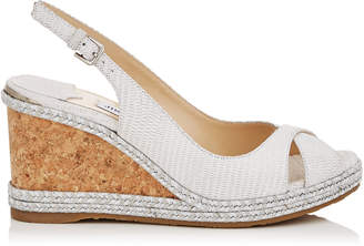 Jimmy Choo AMELY 80 Latte Snake Embossed Leather Wedges with Braid Trim Wedge