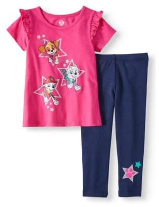 Paw Patrol Short Sleeve Raglan Tunic & Leggings, 2pc Outfit Set (Toddler Girls)