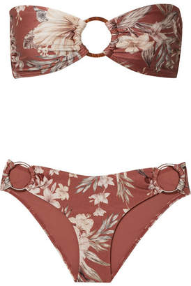 Zimmermann Wayfarer Ring-embellished Floral-print Bikini - Brick