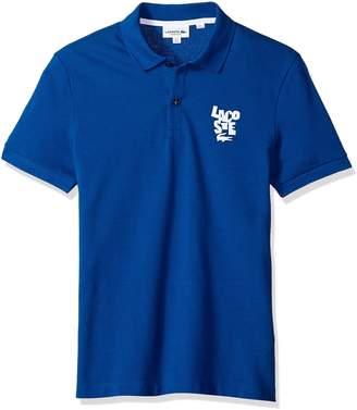 Lacoste Men's Short Sleeve Graphic Pique Bonded Print Reg Fit Polo, PH3244