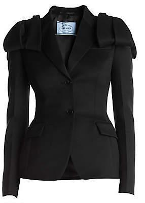 Prada Women's Bow-Shoulder Wool & Satin Two-Button Jacket