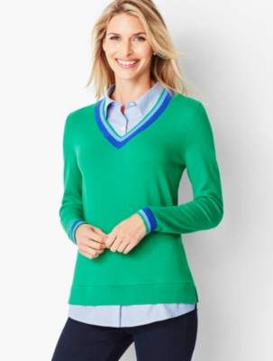Talbots One-Piece V-Neck Sweater and Shirt