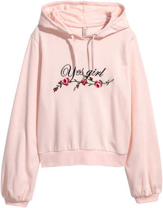 H&M Embroidered Hooded Sweatshirt - Pink