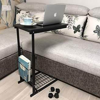 micoe Height Adjustable with Wheels Sofa Side Table Slide Under Adjustable Console Table with Storage Black for Entryway Hallway