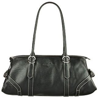 Robe Di Firenze Black Leather Satchel Bag W/White Stiching