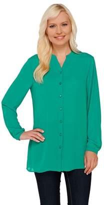 Susan Graver Georgette Long Sleeve Y-neck Button Front Shirt