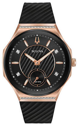 Bulova Curv Collection Diamond Rose Goldtone Stainless Steel Rubber Strap Watch