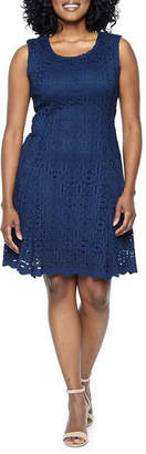 Ronni Nicole Sleeveless Medallion Fit & Flare Dress-Petite